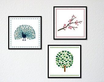 Counted Cross stitch Pattern PDF. Series of 3 Classic Borders. Creative Extra. Instant download.