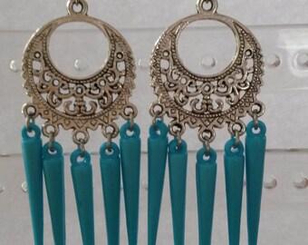 Bohemian Ibiza style long dangling earrings with blue spikes