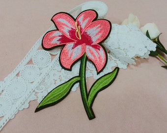 large pink orchid patch/flower patch/embroidered patch/patch for jacket /DIY