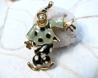 Vintage Jointed Enamel Clown Brooch Black and White Dots