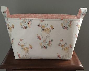 Fabric Basket- Fawn Fabric- Baby Deer- Woodland Theme- Diaper Caddy- Nursery Decor