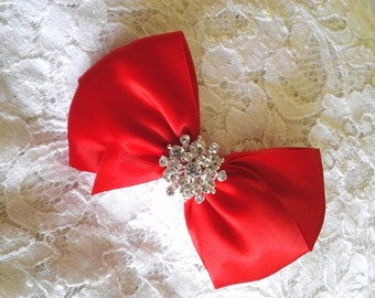 Bright Red Satin Hair Bow with Rhinestone Center, Bright RedFlower Girl Hair Bow, Hair Bow with Rhinestones