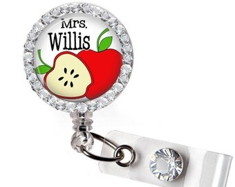 ON SALE - Teacher, Badge Reel, Personalized, Gifts for Teachers, Teacher Gift, Back to School, Teacher Badge, Pre-school Teacher, Bling Badg