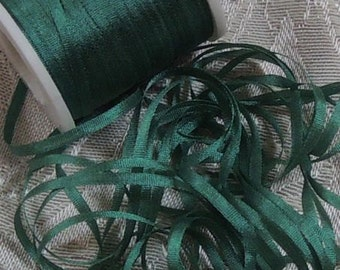 Gorgeous 2mm grass green silk ribbon. 5 yards Color 629