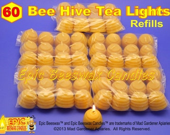 Bee Hive Tea Light Candle Refills, Pure Beeswax Candles, Cute Beehive Candles, Set of 60 Bees Wax Tea Light Candles, Epic Beeswax Candles
