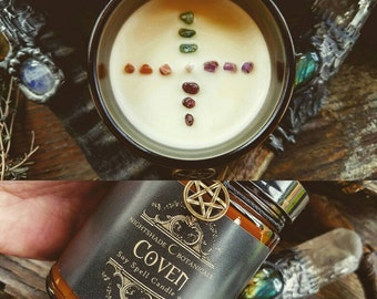 COVEN ~ Crystal Grid ~ 9oz All Natural Soy Essential Oil and Botanical ritual spell Candle Nightshade Botanicals