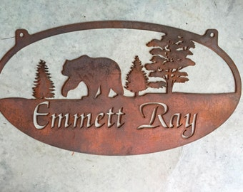 Personalized Metal Sign with BEAR IN FOREST scene customized with your name