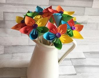 Bright rainbow paper flowers, bouquet, floral arrangement, colourful, wedding center piece