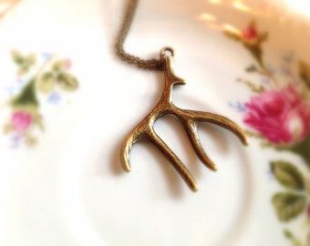 Vintage Style Antler Necklace. Deer Antler. Woodland. Brass. Antique Gold. Simple. Unisex. Wildlife. Nature. Under 15.