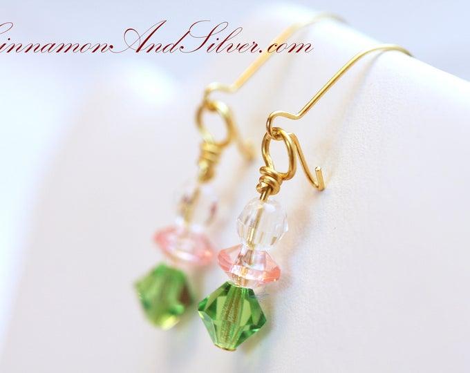 Tiny Green Crystal Drop Earrings, Girl's Green Earrings, Tiny Green Earrings, Green and Pink Beaded Drop Earrings, Green Swarovski Earrings
