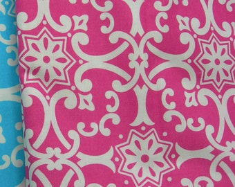 So St Croix  Pink  gridwork   Jennifer Paganelli Fabric   Out of Print