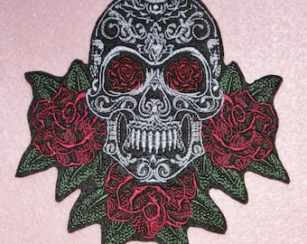 Extra Large Skull  and Roses Iron On or Sew On Patch, Day of the Dead, Dia de los Muertos, Biker, Motorcycle