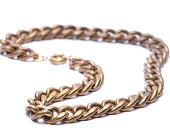 "Heavy Vintage Brass Chain Necklace 24"""