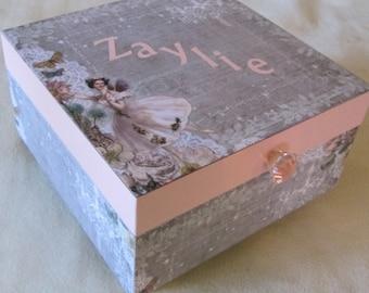 Large Memory Box - Keepsake Box -  Fairy Keepsake Box - Personalized - Gift