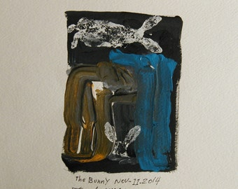 the bunny monotype print by fred wilder