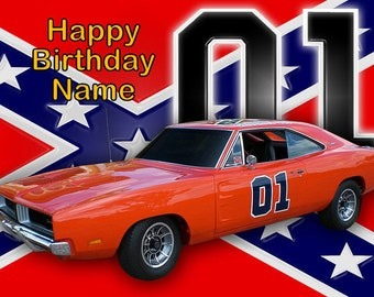 Dukes of Hazzard General Lee Edible Image Cake Topper Personalized Birthday 1/4 Sheet