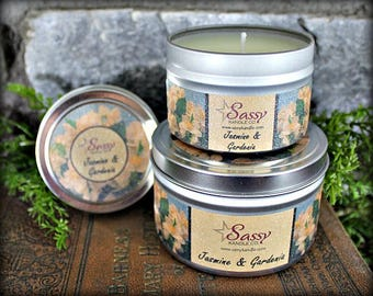JASMINE & GARDENIA   Candle Tin (4 or 8 oz)   Sassy Kandle Co.