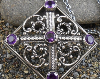 Amethyst Necklace Vintage Sterling Silver Pendant Open Work Square  -  20 inch Chain