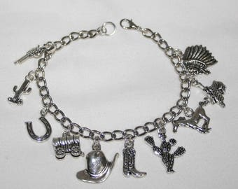 Western Charm Bracelet,  Western Bracelet, Cowgirl Jewelry, Cowgirl Bracelet , Country Western Bracelet,  Custom Fit Bracelet