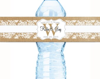 30 Burlap and Lace Monogram Personalized Water Bottle Labels - Wedding Bottled Water Labels - Water Bottle Wraps - Rustic Water Labels