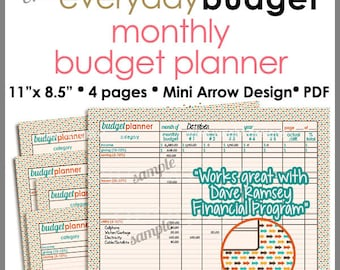 Monthly Budget Tracker/Planner Printable Worksheet - Autumn Mini Arrows 8.5 x 11 inch - PB1407