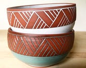 Pair of Ceramic Bowls (Made to Order) - Terracotta Cereal or Soup Bowl - Southwestern Aqua Turquoise -Geometric Pattern - Pottery by Osa