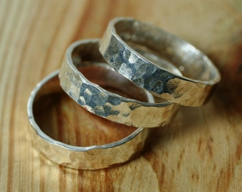 Hand hammered textured silver plated band ring, one piece (item ID SPN)