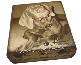 Pet Memorial Box, Dog Memroial, Dog Urn, Pet Urn, Personalized Pet Memorial, Custom Photo Box, Memory Keepsake, Engraved Memorial