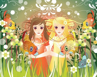 Underwater Girls print