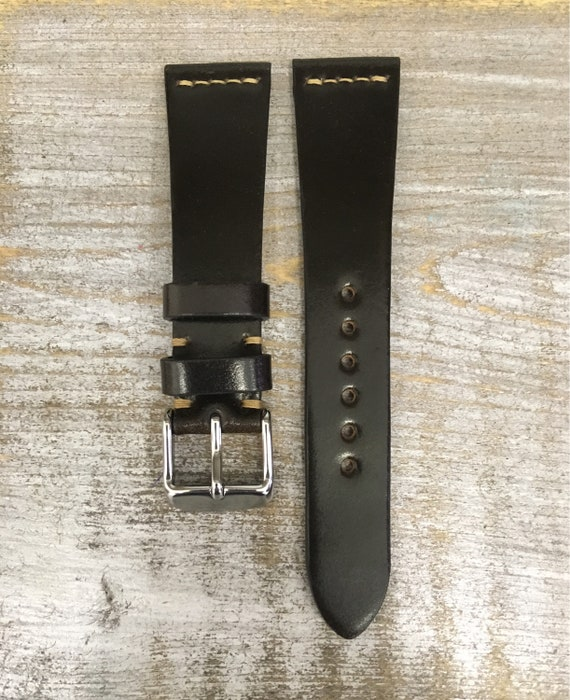 20/16mm Dark Cognac Horween Shell Cordovan watch band - simple middle stitch