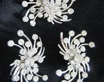 huge Brooch Earring SET prong set  RHINESTONES in silver