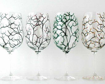 The Four Seasons Glasses - Set of 8 Hand Painted Wine Glasses with Winter, Spring Blossoms, Summer and Fall Leaves