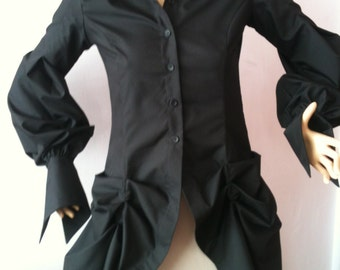 Steampunk Womens loose slim fit black blouse/Gothic Extravagant blouse