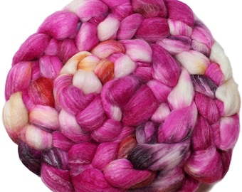 Lolly - hand-dyed Merino wool / bamboo / silk (4 oz.) combed top roving