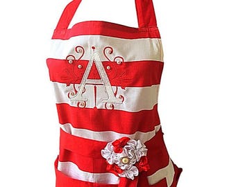 Monogrammed Personalized Red and White Stripe Apron With Pearl Detail and Removable Floral Pin by Thimbleful  Threads
