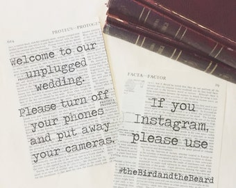 Literary Wedding Instagram Hashtag Sign 5x7 / Unplugged Wedding Sign / Encyclopedia Vintage Book Page Sign