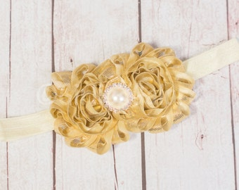 Baby Headbands, GOLD Baby Headband, CHOOSE COLOR Girls Metallic Headband, Gold Shimmer Headband, Metallic shiny headband, Gold headband
