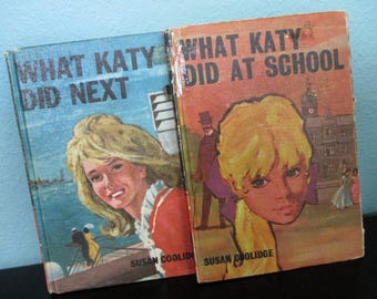 Vintage Books, What Katy Did At School and Next by Susan Coolidge, Set of 2, 1960s, Classic Literature, Tween and Teen Reading, Craft Supply