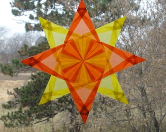 Orange and Yellow Origami Window Star with 8 Points and 152 Folds