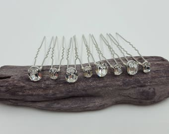 Swarovski Crystal Hair Pins (Oval) Set of 5, 10 or 15. 8mm or 10mm crystals. Bridal Hair Accessories. Wedding Hair Accessories
