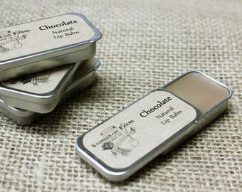Chocolate Lip Balm - Beeswax Lip Balm - All Natural Lip Balm - Organic Lip Balm - Homemade Lip Balm - Lip Balm Tin - Slider Tin