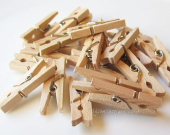 50 Darjeeling Tea Stained Mini Clothes Pins - Tiny 1 inch