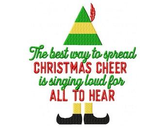 Elf Spread Christmas Cheer Machine Embroidery Digital Download