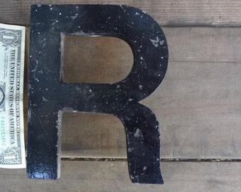 Vintage XL Letter R Metal Distressed Black 6  X 4  & 3/4   X  1/2 inch