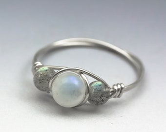 Rainbow Moonstone & Labradorite Gemstone Sterling Silver Wire Wrapped Gemstone Bead Ring - Made to Order, Ships Fast!