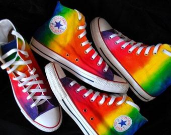 Custom handpainted rainbow shoes, personalized shoes, rainbow converse, rainbow vans, rainbow sneakers