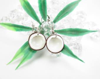 Coconut Earrings, coconut jewelry, food jewelry, food earrings, vegan gift, coconut halves charm, miniature food, polymer clay, womens gift