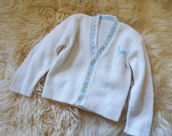 "SALE Vintage 1960s Baby Size 6-9M Super Soft Cream Cardigan Sweater Embroidered Horse, chest 20"" length 11"", Retro Baby"