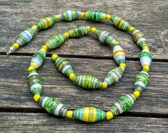 Handmade necklace with green - yellow - white recycled paper and yellow glass beads