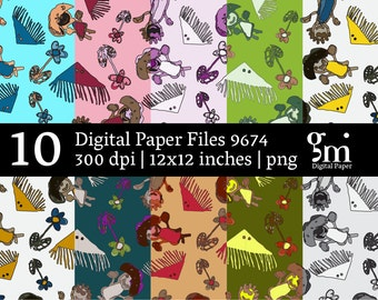 Digital Scrapbook Paper, Digital Collage Sheet, Digital Paper Pack, Instant Download, Digital Download